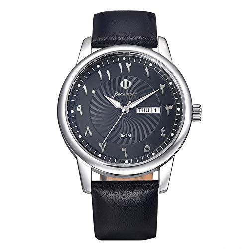 Hakvs Constelacion Silver Armbanduhr mit arabischen Ziffern, elegantes, minimalistisches Design, Gehäuse aus Edelstahl, Armband aus echtem Leder, 5ATM, Ziffern arabisch