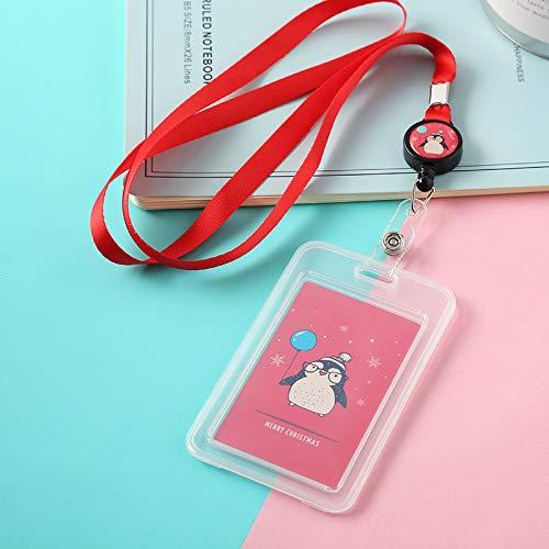 MYhose Portatarjetas de plástico de Dibujos Animados Bus ID Portatarjetas Estuche Insignia Carrete retráctil Correa para el Cuello, Cordón Rojo