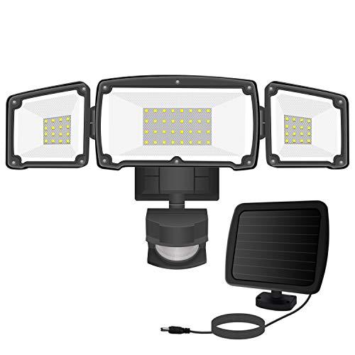 Harmonic Solar Motion Sensor Lights Outdoor, 1600LM LED Solar Security Lights Outdoor, 6000K IP65 Waterproof Flood Light with 3 Adjustable Head for Yard, Garage, Pathway, Entryways (Black)