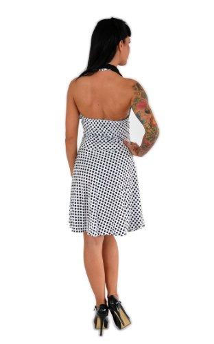 Küstenluder MABLE Polka Dots BOW Neckholder SWING Kleid Rockabilly – Weiß - 6