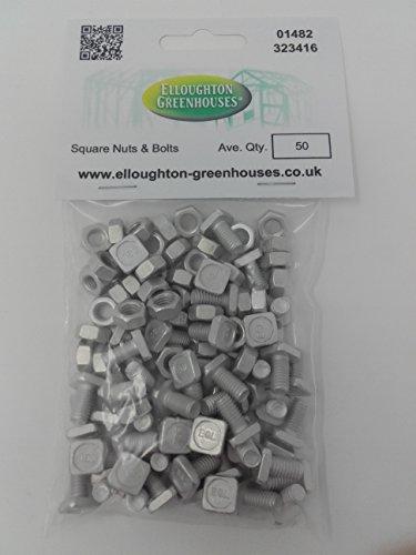 Elite Greenhouses Muttern und Schrauben Aluminium 50 Stück