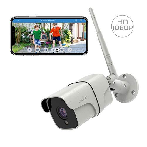 Telecamera di Sorveglianza 1080P Telecamera WiFi Esterno, COOAU Videocamere di Sicurezza, IP66 Impermeabile, Audio Bidirezionale, Connessione a distanza via Android/iOS/PC Bianco