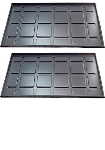 OKCS - 2 vassoi per scarpe, con bordo di 2 cm, impermeabile, materiale PS riciclato, nero, 60 x 40 x 2 cm, made in Germany