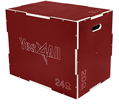 """Yes4All Non-Slip Wooden Plyo Box 30"""" 24"""" 20"""" - Red"""