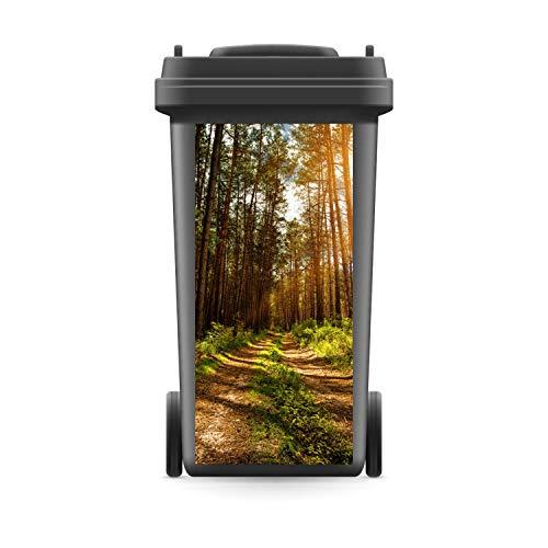 WERBEPUNKT. Mülltonnenaufkleber Mülltonne Mülleimer Abfalltonne Sticker Waldweg Wald Bäume - 720 x 320 mm