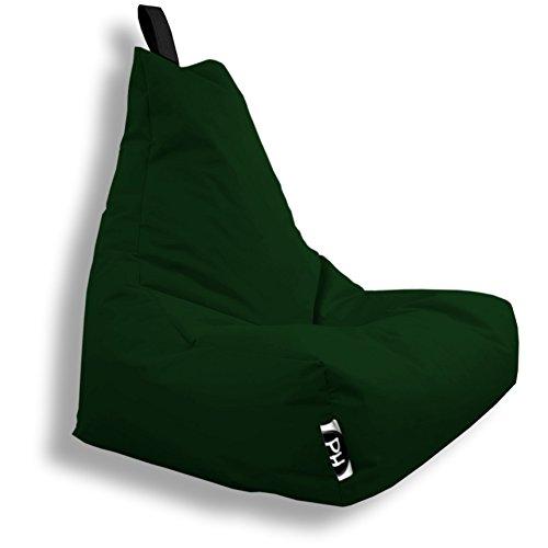Patchhome Lounge Sessel XXL Gamer Sessel Sitzsack Sessel Sitzkissen In & Outdoor geeignet fertig befüllt | XXL - Dunkelgrün - in 2 Größen und 25 Farben