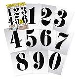 Plantillas de números 0123456789-20 cm, Reutilizables, 295 x 200 mm, 10 láminas separadas, plástico Mylar, diseño Vintage