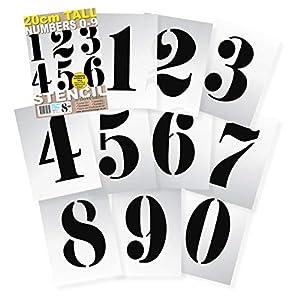 ● Zahlengröße: 200 mm ● Ziffern 0 1 2 3 4 5 6 7 8 9 0 auf 10 separaten Blättern ● Dicke: 190 Mikron ● Schriftart: Französischer Stil
