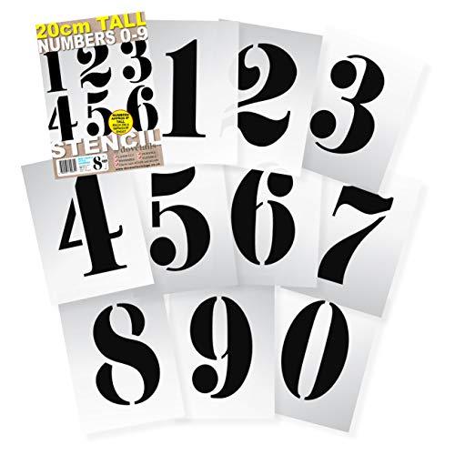 große Zahlenschablonen 20 cm hoch, französischer Stil. Wiederverwendbare Zahlen 0123456789 auf 10 separaten Blättern 295 x 200 mm - robustem flexiblem Mylar-Kunststoff