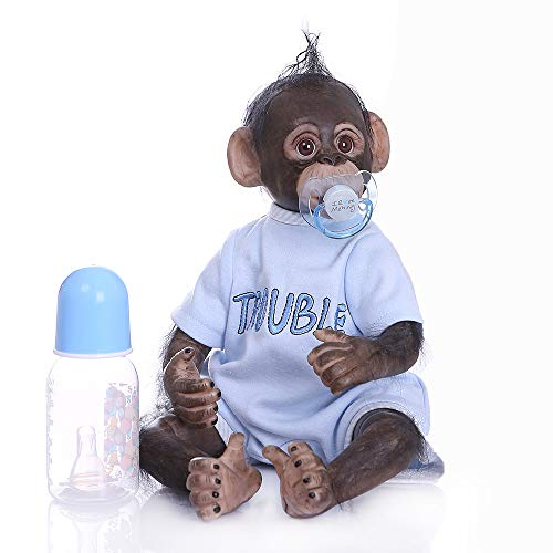 iCradle Muñeca Reborn 40 cm Muñeca Reborn Chimpancé Muñeca Hecha a Mano 16 Pulgadas Real Life Suave Silicona Jocko Muñecas (Blue)