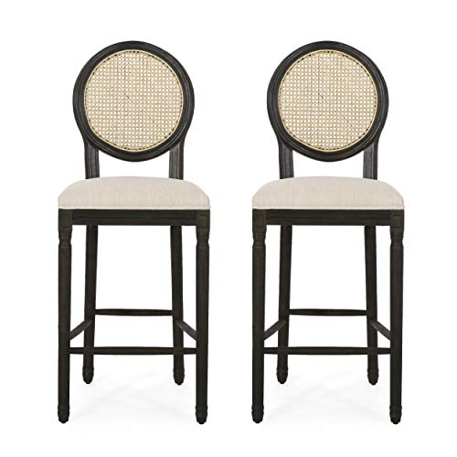 Christopher Knight Home Randy French Country Wooden Barstools with Upholstered Seating (Set of 2), Beige and Black
