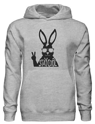Stay Cool Awesome Bunny con gafas de sol Pullover Sudadera con capucha bnft, gris, M