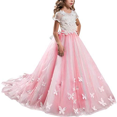 FYMNSI Vestido de Niña de Las Flores de Tul Maxi Largo Vest