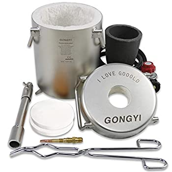 GONGYI Pro Deluxe Kit Gas Melting Furnace 1800℃/3272℉ Full Stainless Steel 304 for Scrap Metal Recycle Melting Copper Aluminum Includes Crucible and Tongs  6 kg