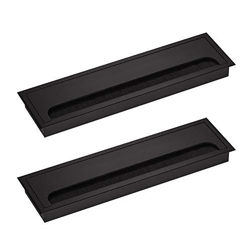 LIKERAINY Pasacables Mesa Oficina Cable Glándula Rectangular 80x 280mm para Encastrar en Escritorio Cable Salida Angular Aluminio Acabado Negro Anodizado Organizador de Alambre 2 Piezas