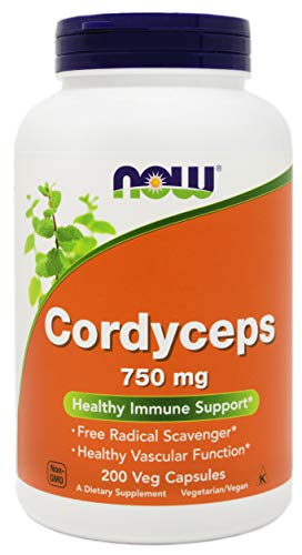 NOW Foods Cordyceps 750mg 200 Veg Caps - Organic Cordycep Sinensis Mycelium Mushroom Powder - in Non-Organic Capsules - Vegan, Non-GMO