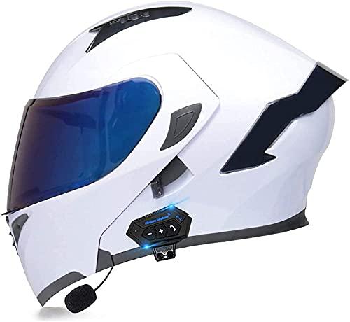 WDZJM Casco de Motocicleta, Personalidad Cool Bluetooth Four-Seasons Universal Complete Casco con certificación ECE para Hombres y Mujeres, Equipada con Dos Gafas Walkie-Talkie (Color : White)