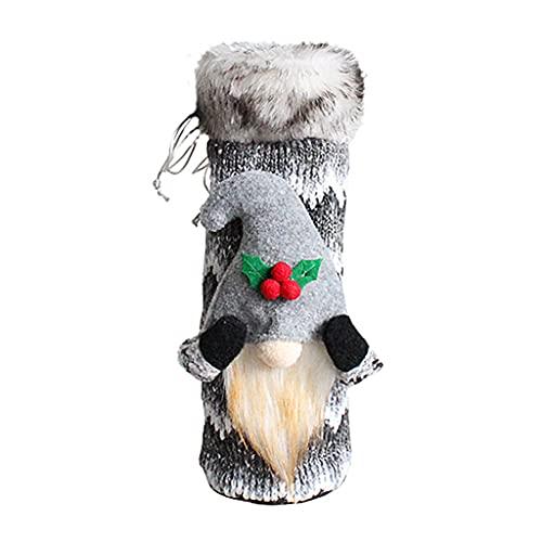 deendeng Bolsas de regalo de Navidad - Gnomo de Navidad para botella de vino Swedish Tomte Gnomes Bolsa de regalo de vino para Navidad