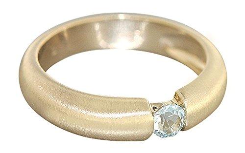 Hobra-Gold Goldring 585 mit Topas Ring Gold mit Blautopas Solitär Damenring Topaz
