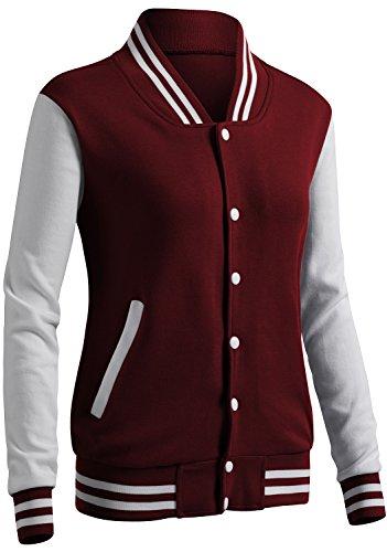 CLOVERY Women's Baseball Style Long Sleeve Jacket Wine M