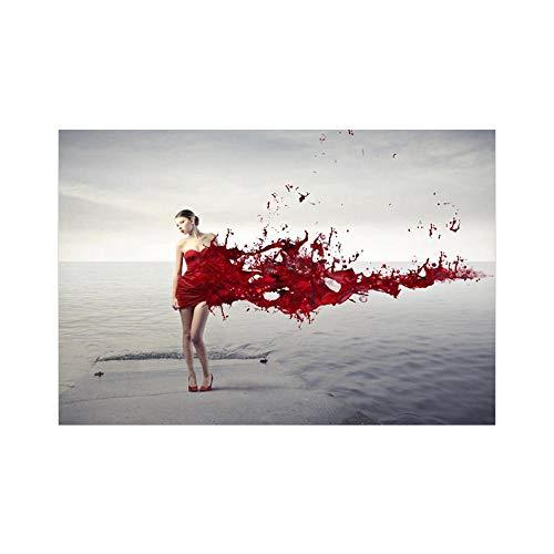 Bildern Wandbild Rote Frau am Meer Kunstdruck zur Leinwandbilder Moderne Bilder Wanddekoration Wohnung Deko 60x90cm Kein Rahmen