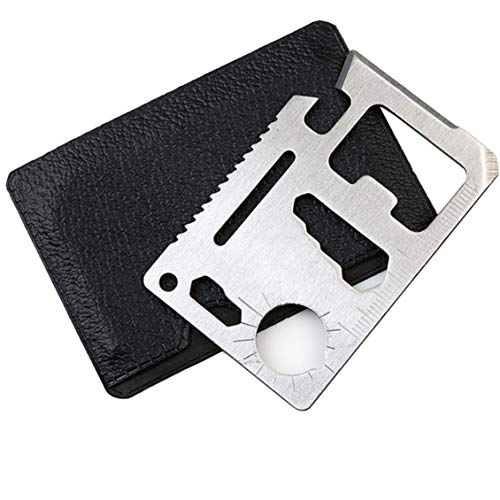 Credit Card Survival Tool Pocket Multitool 11 in 1 Stainless Steel Silver Bottle Opener Screwdriver Blades Knife Keychain for Outdoor Camping