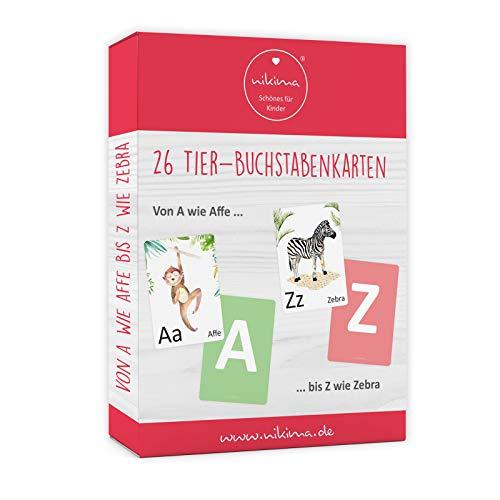 nikima Schönes für Kinder Set 26 Tier Buchstabenkarten Lernkarten - Ich lerne das Alphabet - ABC Lernspiel Karten für Vorschule und Schule
