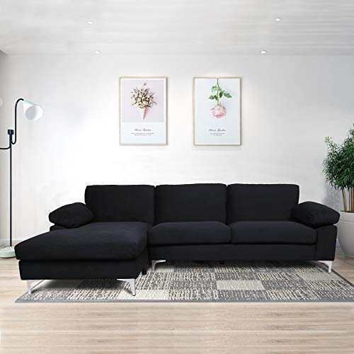 Zebery Convertible Sectional Sofa Couch L-Shaped Couch Reversible/Sectional Sleeper Sofa for Small Space Apartment,Black