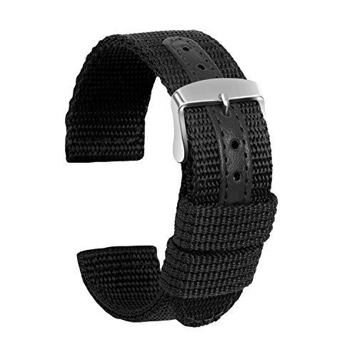Ullchro Nylon Cinturini Orologi Alta qualità Tela di canapa Orologi Bracciale Militari Esercito - 18mm, 20mm, 22mm, 24mm Cinturino Orologio Fibbia Dell'acciaio Inossidabile (20mm, nero)