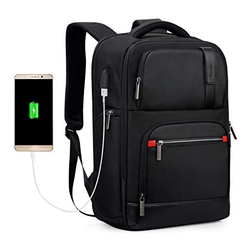 Hanke Erweiterbar Rucksack 19 Zoll Laptop Rucksack Anti-Diebstahl Business Rucksack mit USB Ladeanschluss Kopfhöreranschluss RFID 15,6 Zoll Laptopfach