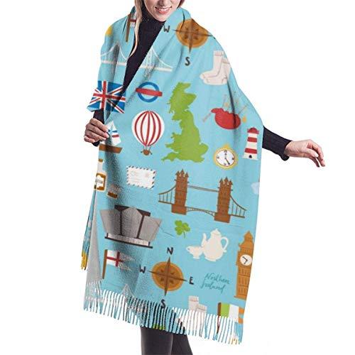 H.D. Winter Schal Damen Warm Baumwolle Großbritannien Großbritannien Reisetourismus...