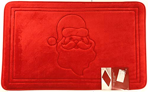 Luxury Holiday Christmas Santa Red Memory Foam Anti Fatigue Kitchen Bathroom Floor Mat Rug (Red, 20' x 32' Inch)