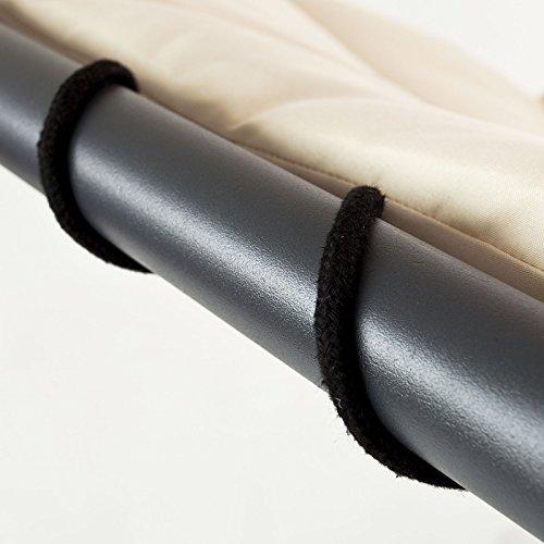 SoBuy OGS16 Schwebeliege mit Sonnenschirm Relaxliege Schwingliege Schaukelliege Hängesessel Hängeliege Sonnenliege Belastbarkeit 120kg beige - 6