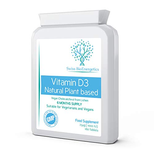 Vitamin D3 Natural Plant Based 25µg (1000 IU) 180 Tablets - Vegan Cholecalciferol from Lichen– Exclusively Manufactured in The UK