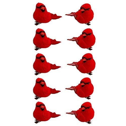 QCUTEP 10Pcs Red Artificial Christmas Cardinal Birds Mini Feather Birds Ornaments Christmas Cardinal Birds Clip for Christmas Tree Home Decor