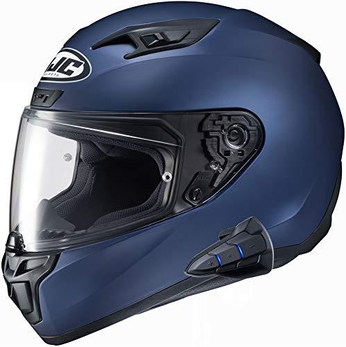 HJC i10 Full Face Helmet Snell 2020 with Sena Smart 10B Bluetooth Headset SF Met Blue Medium