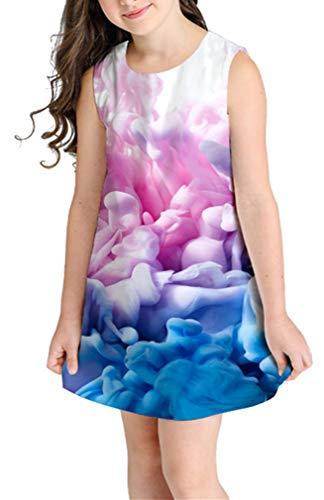 Ocean Plus Niña Verano Casual Vendimia Vestidos Sin Mangas Flamenco Patrón Lindo Impreso Rodilla Larga Gatito Tramo Partido Dress (S (Altura: 135-145 cm), Nubes Azules Rosadas)
