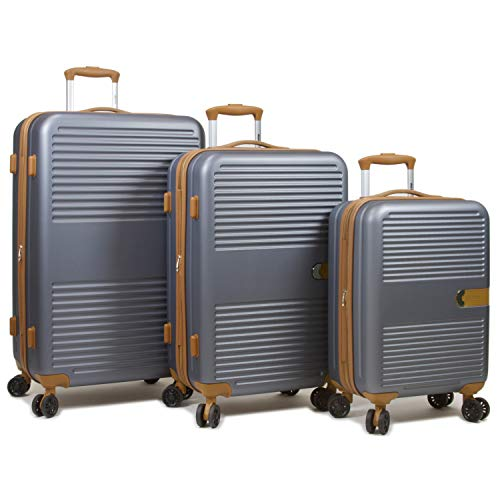 Dejuno Garland Hardside 3-Piece Spinner Luggage Set With USB Port, Grey
