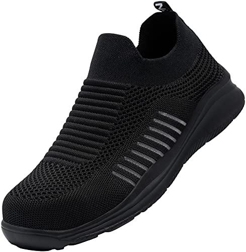 Kefuwu Chaussures de Securite Homme Légèr Embout en Acier Chaussure Respirant Anti-Pression Chaussures de Travail Confortable Basket de Securite(Noir,42)