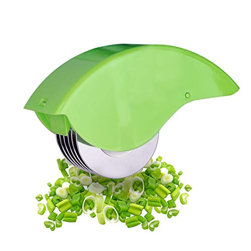 Herb Roller Mincer, AOZBZ Manual Hand Scallion Chive Mint Cutter with 6 Stainless Steel Blade Kitchen vegetable chop