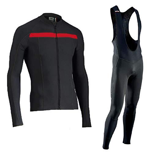 LybMjG Tenue de Vélo Equipe,Combinaison de Cyclisme À Bretelles À Manches Longues, Pantalon de Veste de Vélo de Montagne pour Hommes Automne/Hiver-B1_3XL