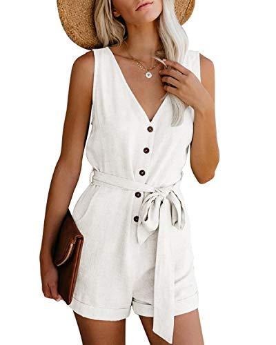 CNFIO Monos Cortos Mujer Verano Vestir Mujer Elegante Petos Mujer Verano Trabajos Pantalones Cortos A-Blanco L