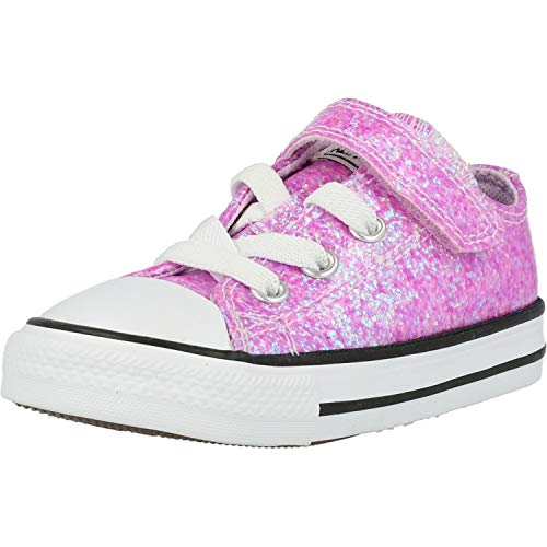Converse Baby-Girl's Chuck Taylor All Star Glitter Velcro Low Top Sneaker, Lilac Mist/Black/White, 2 M US Infant