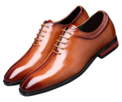 Mens Lace Up Dress Shoes Italy Prince Classic Modern Formal Leather Men Wholecut Oxford Shoes Tan 11 US