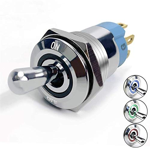 Dafengchui En Off LED Toggle Switch 12V RGB Iluminado IP67 Impermeable 16mm Gran Rocker Rocker Push Button Style Silver Chrome Coche Marine