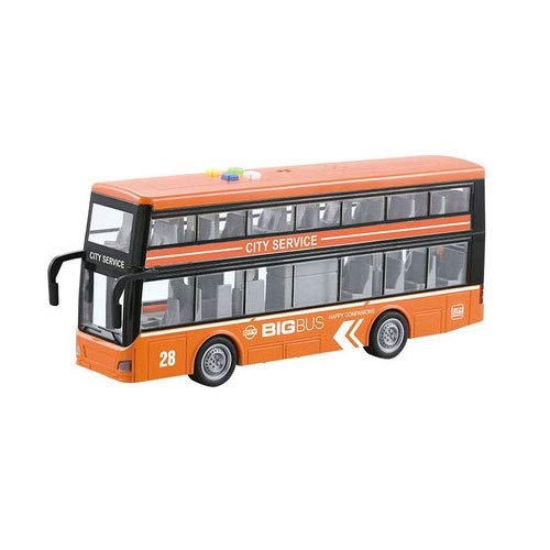 Xolye City Bus Spielzeug Sound und Licht Spielzeug Auto 4-Rad-Antrieb Trägheit Vorwärts Kinderspielzeug Auto Großer Doppeldecker Tourist Bus (Color : Orange)