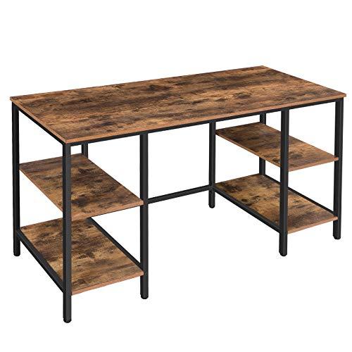 HOOBRO Schreibtisch, Computertisch, Bürotisch mit 4 Ablagen, Stabile Arbeitstisch, 137 x 55 cm Tischoberfläche, Platzsparend, für Homeoffice, Büro, Gaming, Leicht Aufzubauen EBF137DN01