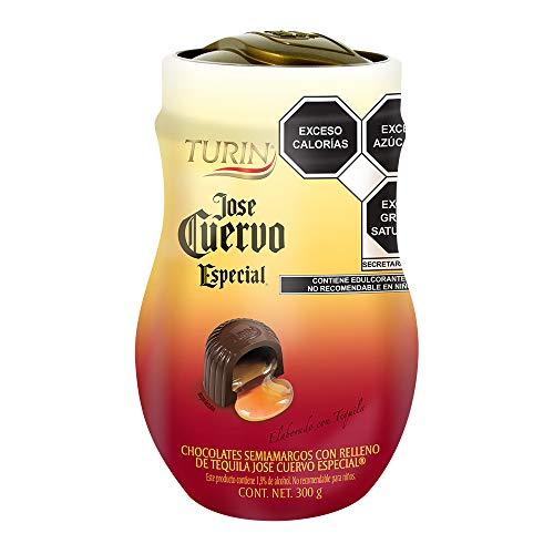 Chocolate Turin Semiamargos con relleno de tequila José Cuervo Especial en vitrolero