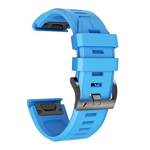 Armband für Garmin Fenix 5X /Fenix 5X Plus/Fenix 6X /Fenix 6X Pro/Fenix 3 /Fenix 3 HR, 26mm Breite Silikon Quick-Fit Uhrenarmband für Garmin, Mehrfache Farben (Blau)