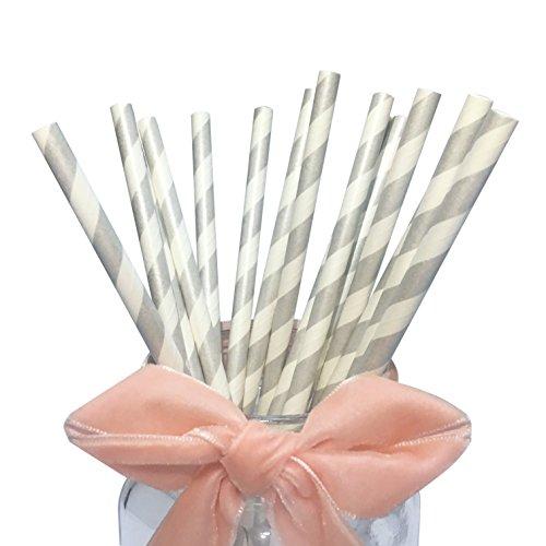 Cannucce di carta a strisce bianche e argentate per feste, cannucce di carta grigio chiaro